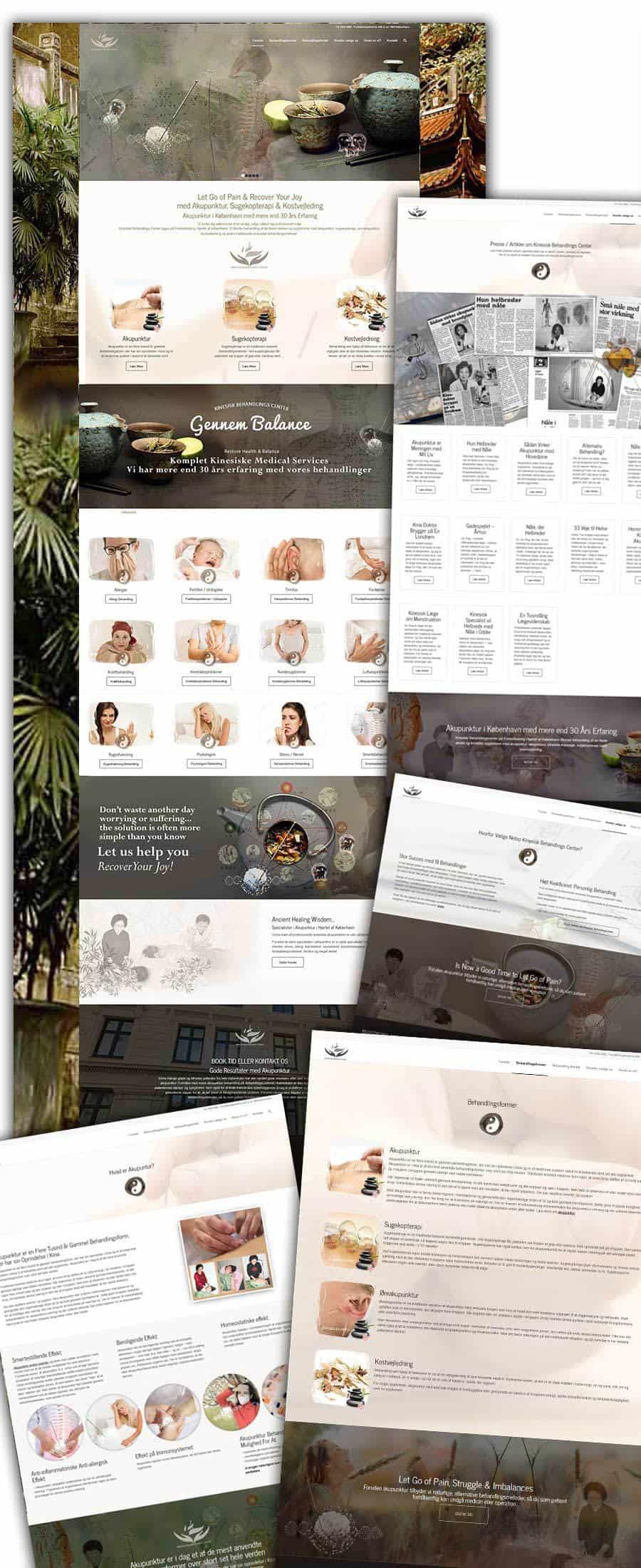 Nogle screenshots af behandlings hjemmeside