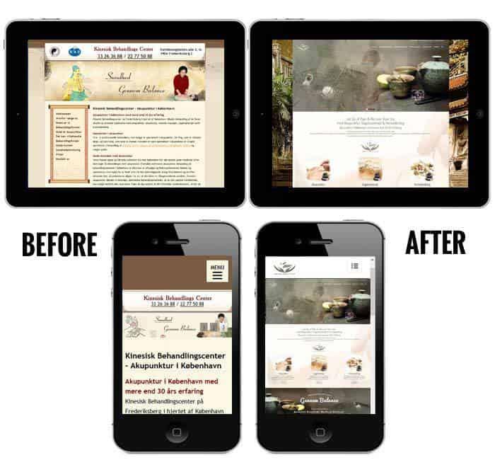 Før og efter visning på ipad og smartphone