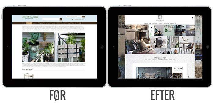 Før og efter visning af ny hjemmeside på ipad