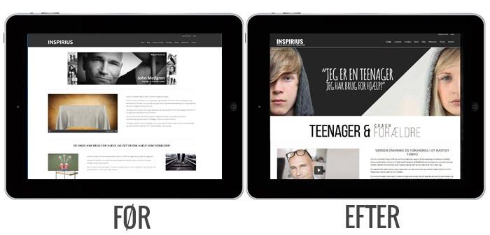 iPad visning af hjemmeside før og efter