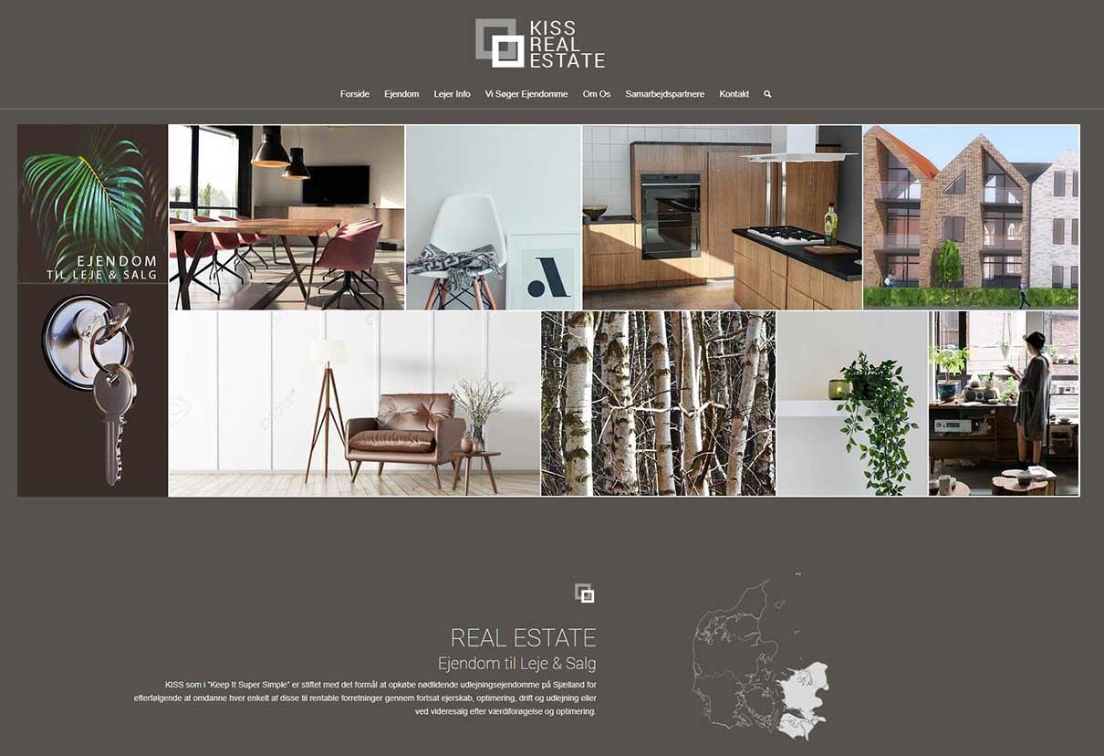Screenshot mockup af ejendomsmæglers wordpress hjemmeside