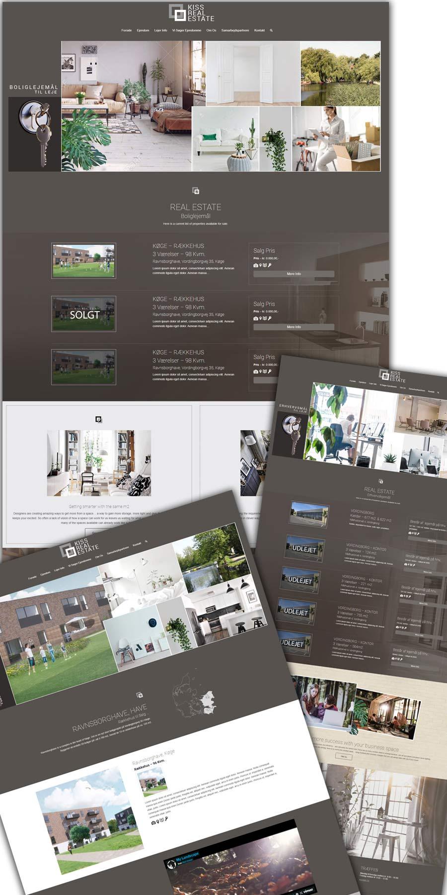 Mockup af hjemmeside sider