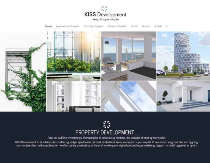 Screenshot af KissDevelopment.dk wordpress hjemmeside