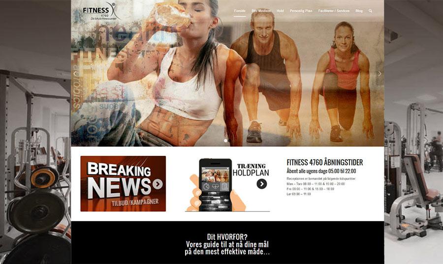"""Forside screenshot af fitness center hjemmeside """"to the fold"""""""