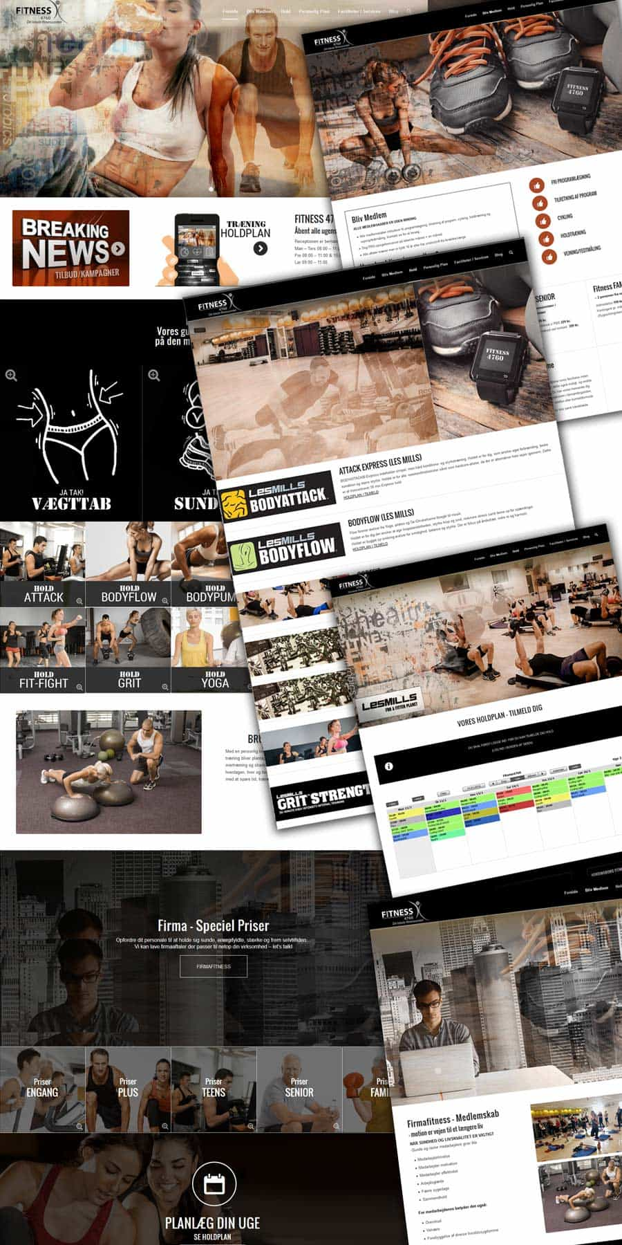 Screenshots af fitness center wordpress hjemmeside sider