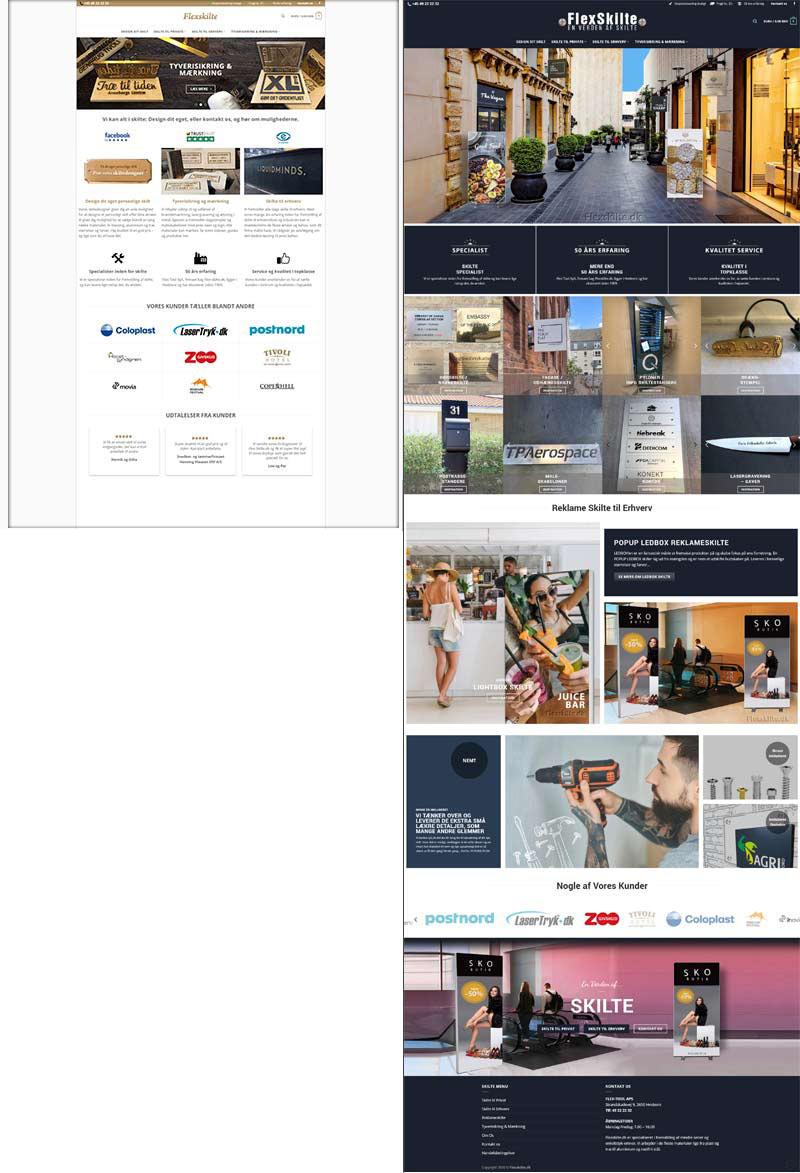 Flexskilte.dk hjemmeside før og efter screenshots
