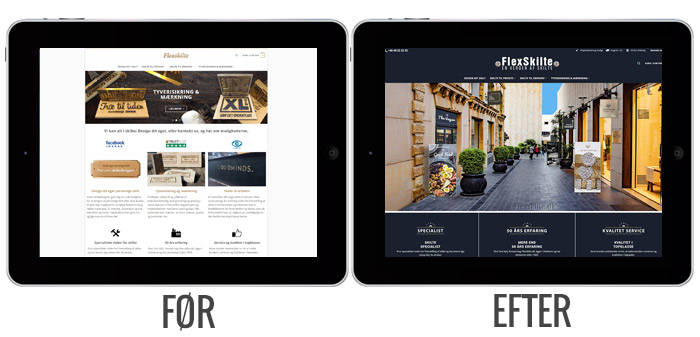 Flexskilte.dk iPad før og efter visninger