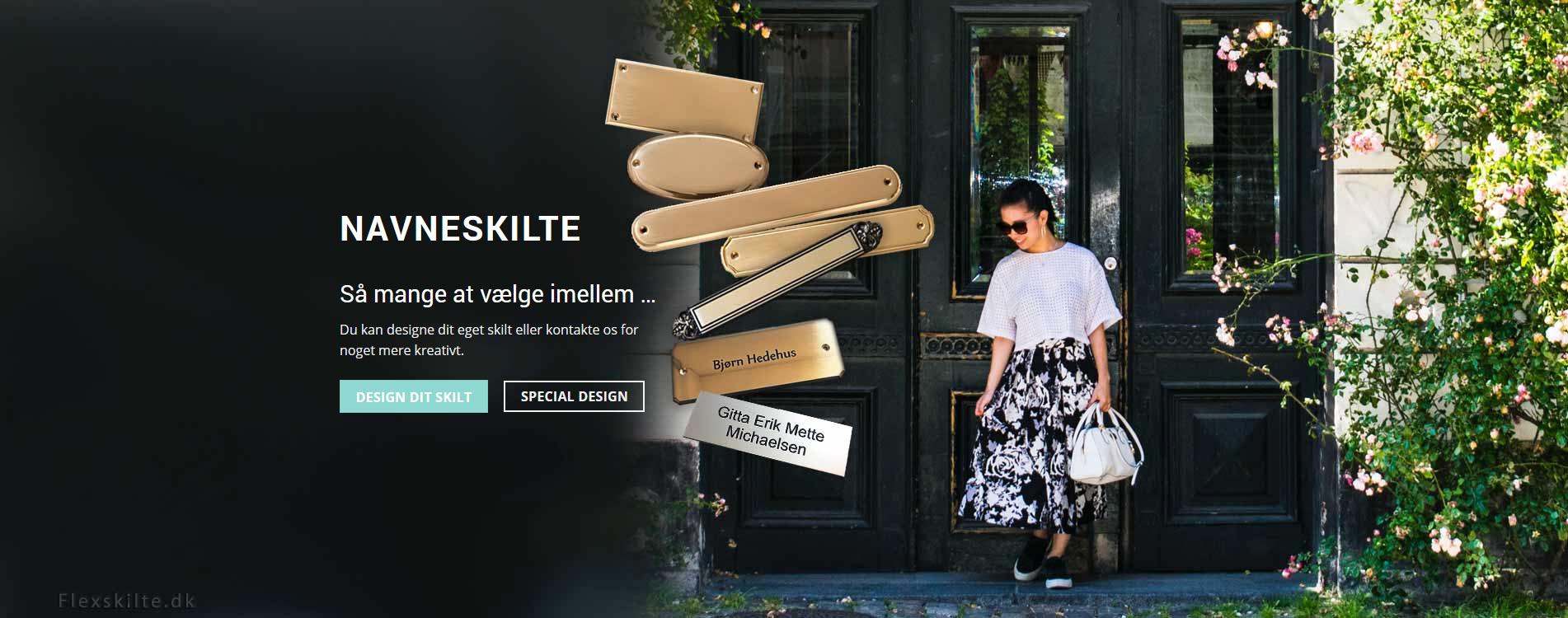 Flexskilte.dk navneskilte slider eksempel