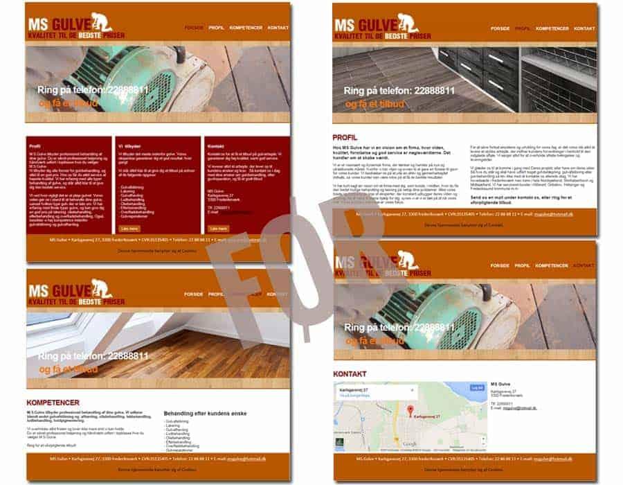 Screenshot af gulvservice hjemmeside før