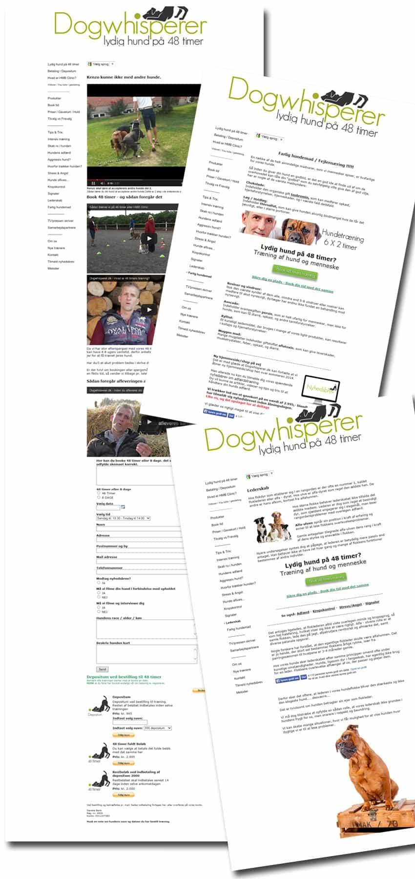 Før screenshots af hundetræning hjemmeside
