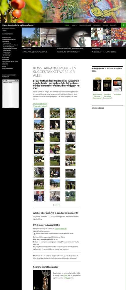 Screenshot af tidligere kunst hjemmeside