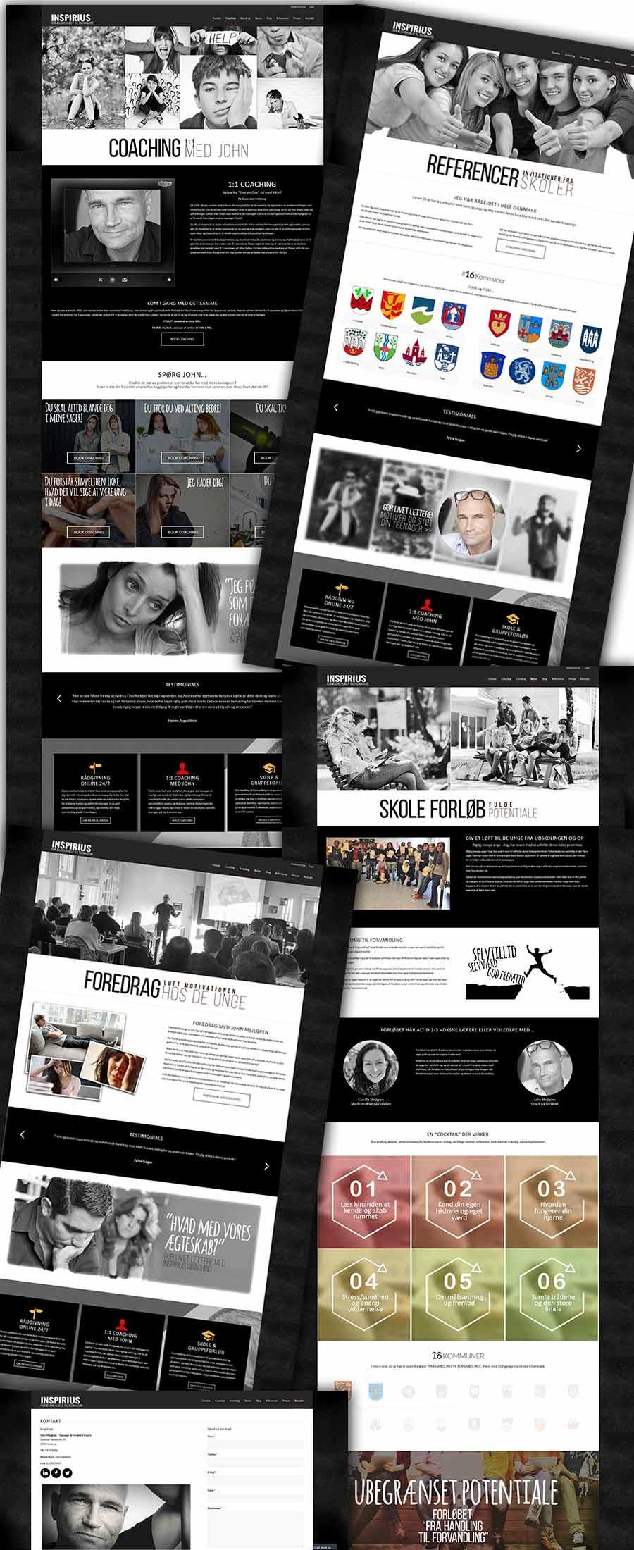 Inspirius.dk screenshots fra den ny teenager coaching hjemmeside