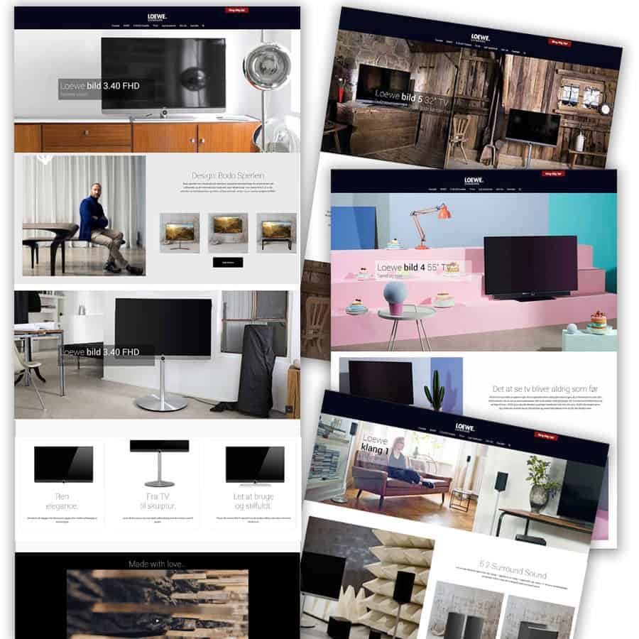 Screenshots fra tv og radio wordpress hjemmeside og webshop