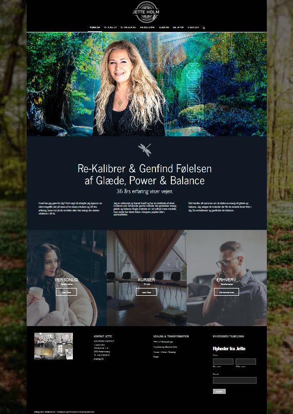 JetteHolm.dk nyt design på forsiden af terapi hjemmeside