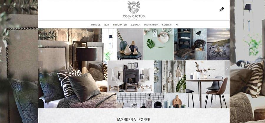 Forsiden pc visning af ny hjemmeside til boligindretning og møbler forretning