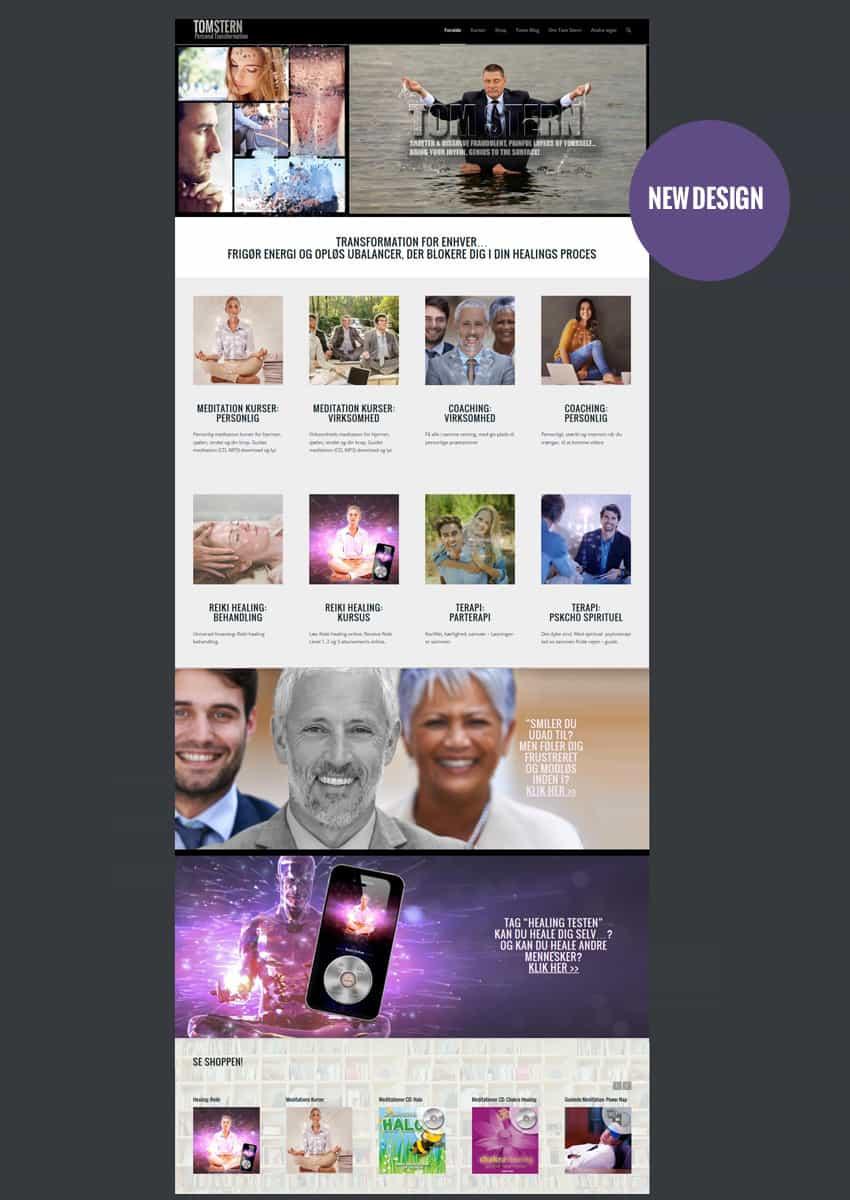 Screenshot til hjemmeside forside