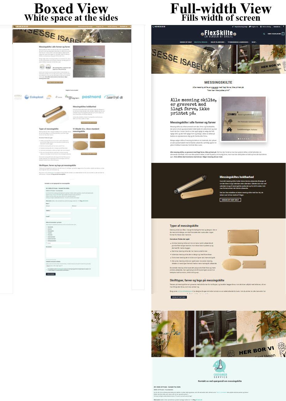Redesign af Flexskilte.dk hjemmesiden fra boxed til fullwidth