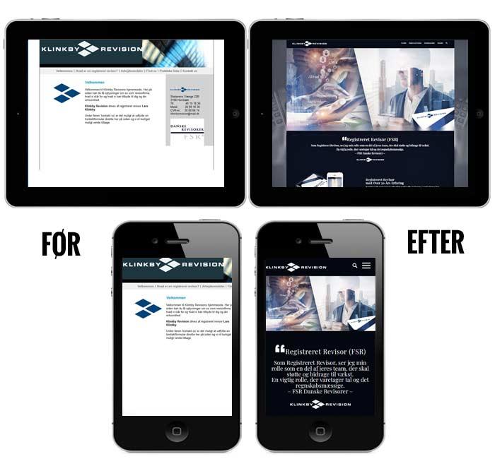 Før og efter visning af ny hjemmeside på ipad og iphone