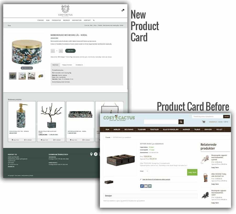 Før og efter screenshot af woocommerce shop produktkort
