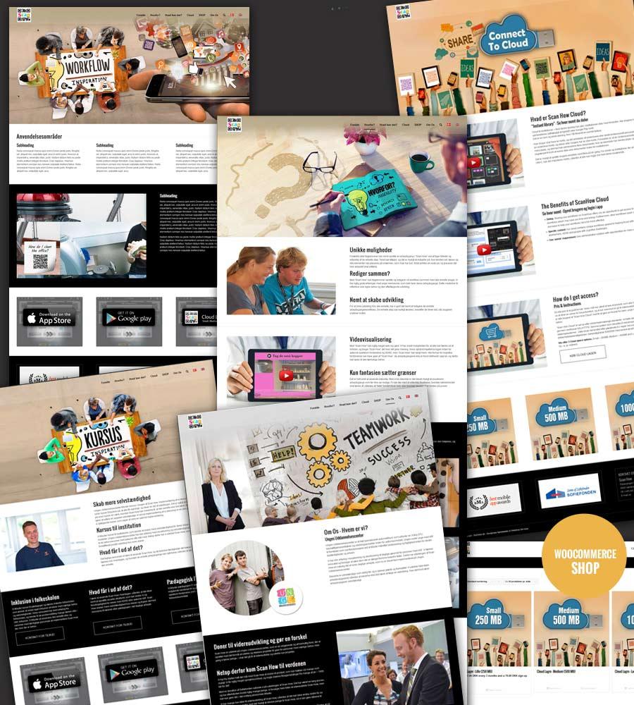 Nogle screenshots af hjemmeside efter